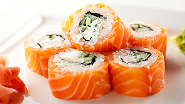 close up photo of five pieces of sushi