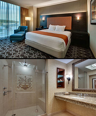shot of king room with suite bathroom underneath