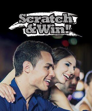 scratch and win logo with woman looking over man