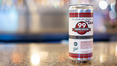 99 hops house crowler on counter