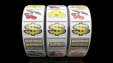 slot machine reel graphic, bar, dollar signs, cherries, lemons